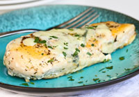 Baked herbed chicken with Gorgonzola cheese