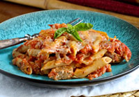 Baked ziti with chicken sausage & roasted red peppers