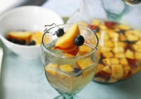 Blueberry peach sangria