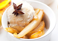 Bourbon poached pears with vanilla ice cream
