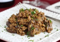 Creamy wild mushroom risotto for two