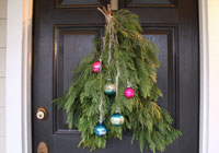DIY holiday door swag