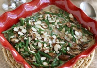 Green bean casserole with sauteed mushrooms and shallots