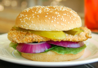 Grilled breaded chicken sandwich