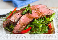 Grilled flank steak and asparagus salad