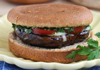 Grilled portobello mushroom burgers with chimichurri sauce