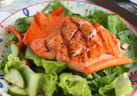 Grilled salmon dinner salad