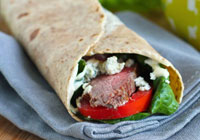 Grilled steak & Gorgonzola wraps