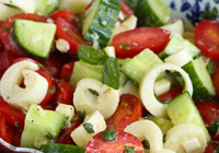 Hearts of palm, cucumber & tomato salad