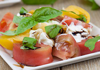 Heirloom tomato and burrata salad with a balsamic reduction