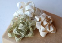 Homemade burlap gift bows