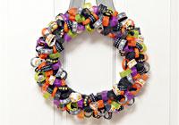 Make a ribbon wreath for Halloween