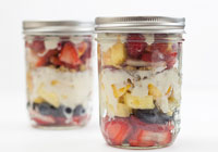 Mason jar layered fruit salad with honey Greek yogurt