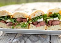 Mini Brie, steak and arugula sandwiches
