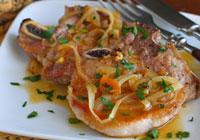Pork chops with apricot glaze