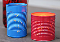 Punched tin luminaries for Fourth of July