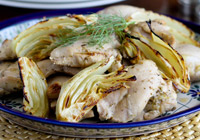 Roasted chicken thighs with lemon, fennel and oregano