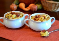 Roasted pumpkin and crispy prosciutto macaroni and cheese