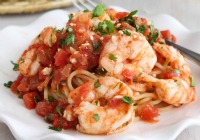 Roasted shrimp with tomatoes & feta cheese