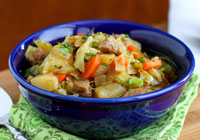 Sausage, cabbage and Irish stout soup
