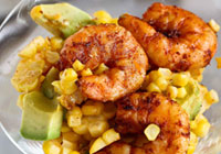 Spicy shrimp cocktail with avocado and corn