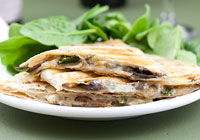 Spinach-mushroom quesadillas with blue cheese and balsamic vinegar