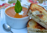 Tomato basil bisque and truffle grilled cheese