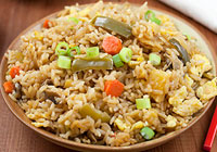 Vegetable fried rice with homemade teriyaki sauce