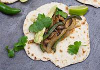 Vegetarian street tacos with homemade flour tortillas