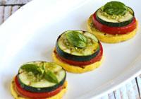 Zucchini, tomato & pesto stack