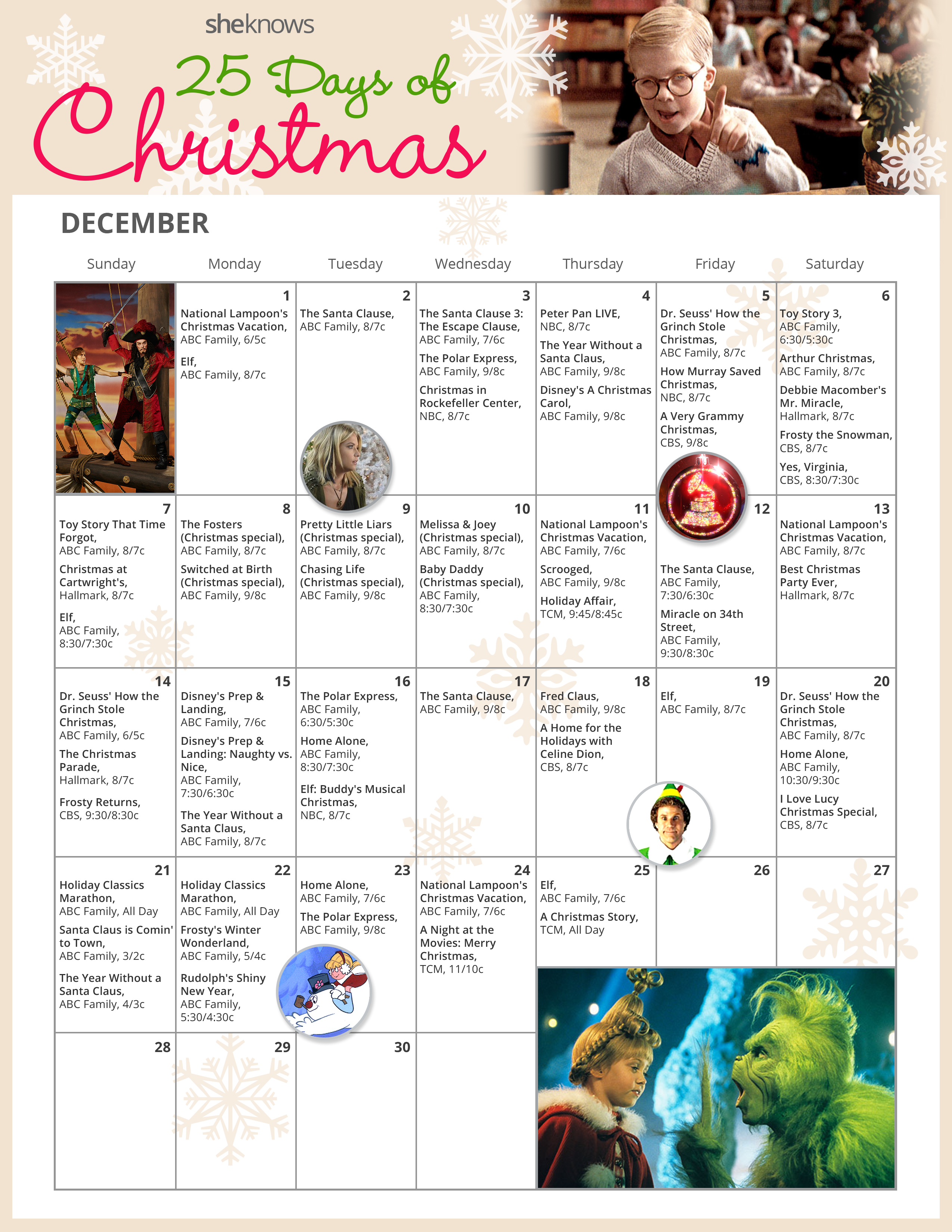 25 Days of Christmas: A TV calendar we know you'll want to print out