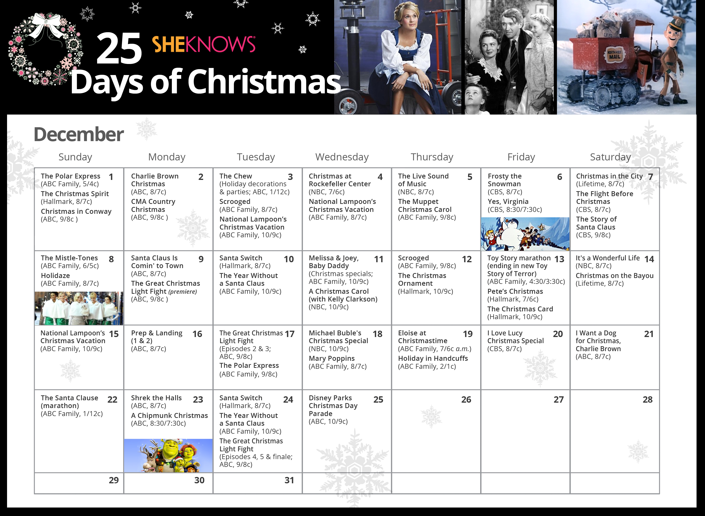 SheKnows presents the 25 Days of Christmas TV calendar