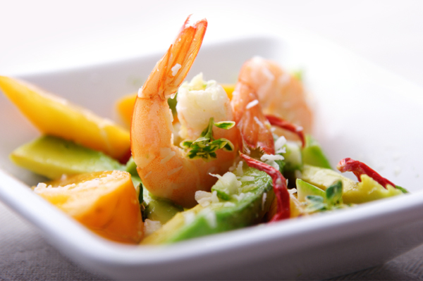 Shrimp, Clementine and Avocado Salads