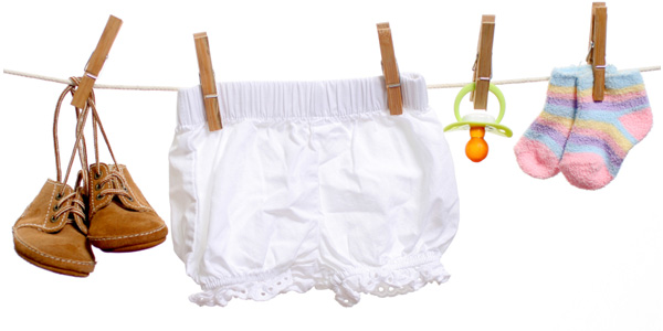 baby shopping clothesline