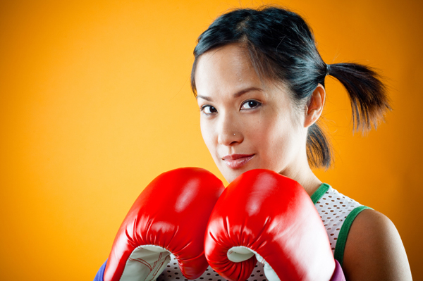 Cute boxing girl