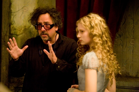 Tim Burton and Mia Wasikowska on the Alice in Wonderland set
