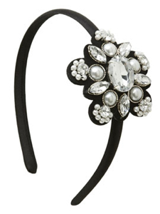 Stone and Pearl Asymmetrical Headband from Arden B