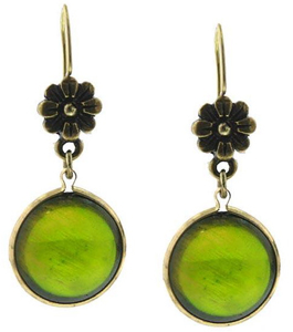 Limerick Olive Green Cabochon Drop Earrings from 1928 Jewelry