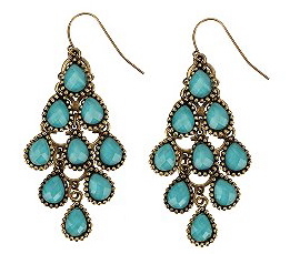Chandelier earrings with colored stones from Urban Outfitters