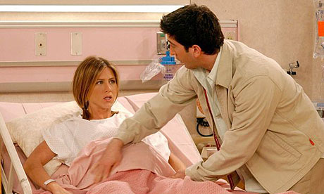 Jennifer Aniston as Rachel giving birth on Friends