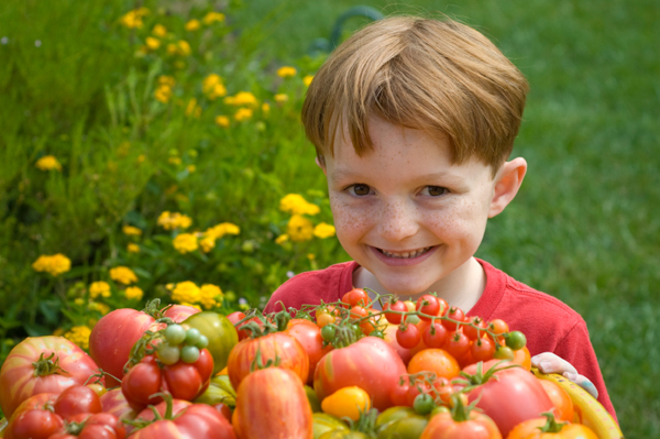 Boy with vegetables from garden