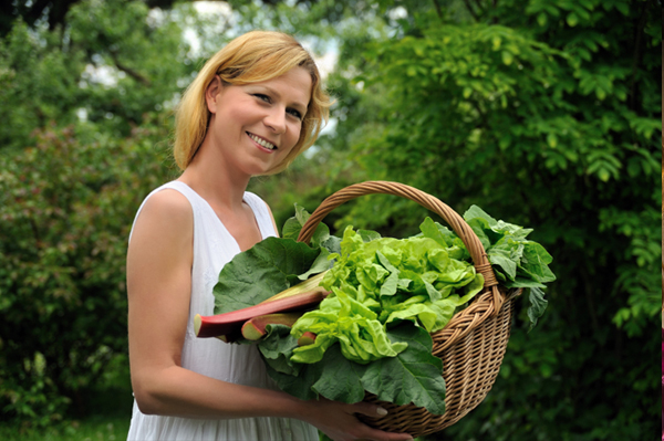 Woman with Garden Greens