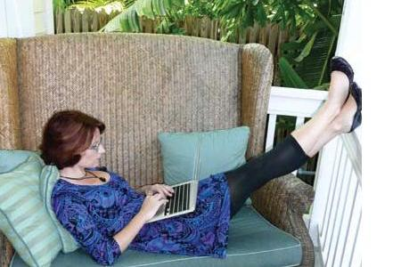 Meg Cabot at home writing her magic