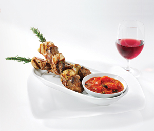 Grilled Chicken Skewers with Sausage and Pancetta