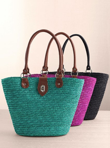 8. Turnlock Straw Tote--Turquoise