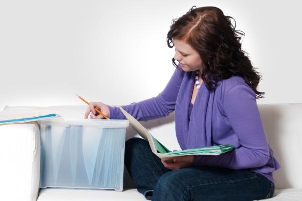 Woman organizing paperwork