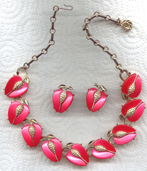 Lisner Red Apples Moonglow Fruit Necklace & Earrings Set