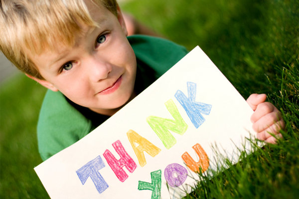 thank you cards for teachers from students. Boy with thank you card