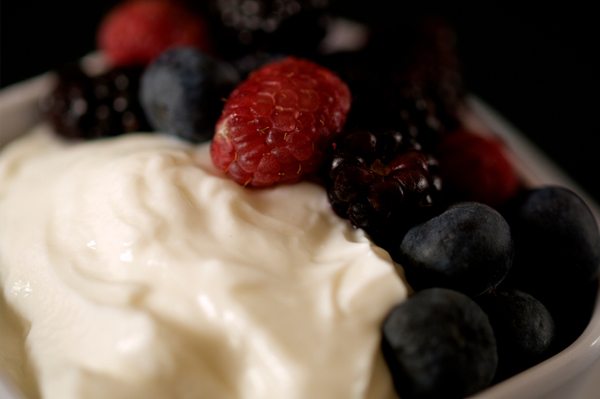 White chocolate mousse with berries