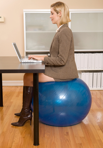Fitness ball at desk